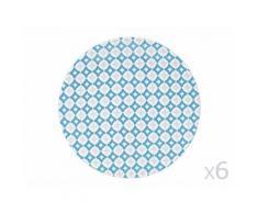 Assiette plate en grès motif ethnique D27cm bleu et gris - Lot de 6 SINTRA - vaisselle
