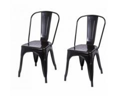 2 chaises de cuisine salon salle à manger design métal noir - Chaise