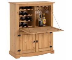 Meuble bar à vin TEQUILA armoire comptoir avec range bouteilles et range verres, bahut de style mexicain en pin massif teinté/ciré - Tables bar