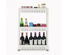 Meuble de Rangement avec Roues, Étagère à Roues, 3 compartiments, 78 x 54 x 12 cm, Blanc, Matériau: Plastique, Polypropylène - Boite de rangement