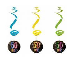 Lot de 4 suspensions spirale 50 ans - 60 cm - Objet à poser
