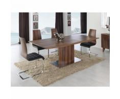 Table à manger rectangulaire extensible 160-200cm en bois couleur noyer VELA - L 160 x l 90 x H 76 - Tables salle à manger