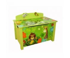 Coffre à jouets en bois meuble chambre enfant motif jungle 71x52x46 cm APE06037 - Objet à poser