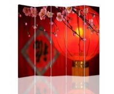 Feeby Paravent d'intérieur sur toile décoratif, 5 parties deux faces, Lampion japonais 180x150 cm - Objet à poser