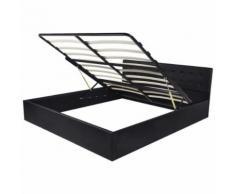 vidaXL Cadre de lit 160 x 200 cm avec cuir synthétique de levage à gaz Lit double - Cadre de lit