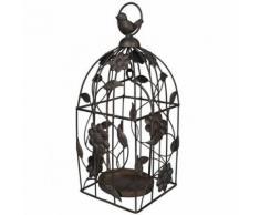 L'Héritier Du Temps - Cage à oiseaux style bougeoir ou volière décorative motifs oiseaux à suspendre en fer patiné marron 13x13x33cm - Objet à poser