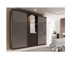 Armoire BODIL - portes coulissantes - Miroir et tiroirs - L240cm - Chocolat et taupe - Armoire