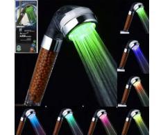 Pommeau de douche LED Controlé contrôlée couleurs Arc-en-ciel à double massage - Accessoires salles de bain et WC