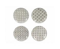 Assiette plate en céramique motif ethnique D26cm gris - Coffret de 4 SANTIAGO - vaisselle