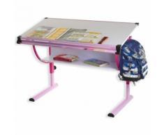 Bureau enfant écolier junior CARINA table à dessin réglable en hauteur et plateau inclinable avec tablette en MDF, structure rose - Bureaux
