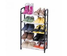 Étagère Chaussures 5 Couches Noir / Gris Metal / Plastique 42X19X70cm - Meubles à chaussures