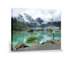 Lacs Poster Reproduction Sur Toile, Tendue Sur Châssis - Barque Au Lac De Montagne En Norvège (30x40 cm) - Décoration murale