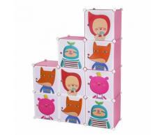 Armoire Penderie Cubes/étagère de rangement modulables plastiques imprimé cadre en métal pour enfant - Armoire