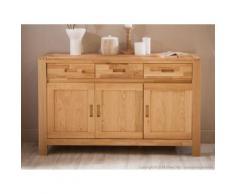 Enfilade 3 portes 3 tiroirs en chêne finition huilée - L140xP44xH85cm HAWKE - Buffets