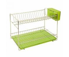 Sauvic égouttoir a vaisselle inoxydable avec plateau - petit modele - vert 91020 - Aide culinaire