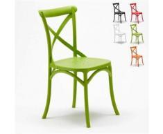 Chaise de cuisine restaurant en polypropylène VINTAGE Paysan Cross design, Couleur: Vert - Chaise