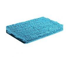 Tapis de bain rectangulaire à poils longs 40 x 60 cm Bleu - Accessoires de bain