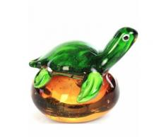 Statue de style Murano (presse-papier) tortue verte - 10 cm - Objet à poser