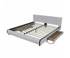 vidaXL Lit en cuir synthétique Blanc avec 2 tiroirs 180 x 200 cm Lit double Lit adulte - Cadre de lit