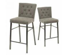 Chaise de bar capitonnée grise VERONI, lot de 2 - Tabourets