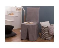 Housse de chaise bachette 100% coton gris clair INES - Textile séjour