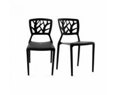 Lot de 2 chaises design noires empilables KATIA - Chaise