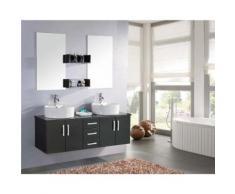 MEUBLE SALLE DE BAIN NOIR - VASQUE LUXE, DOUBLE LAVABO mod. Butterfly 150 cm - Installations salles de bain