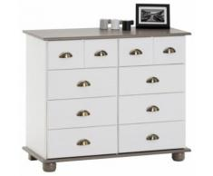 Commode COLMAR chiffonnier apothicaire rangement avec 8 tiroirs en pin massif lasuré blanc et taupe - Commodes