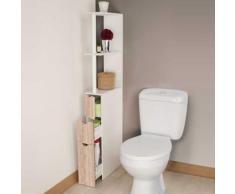 Meuble wc étagère bois 3 portes coloris hêtre pour toilettes - Accessoires salles de bain et WC