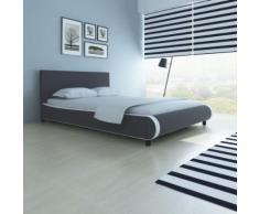 Meelady Lit Double pour 2 Personnes 200 x 140 cm Cuir Artificiel Gris - Cadre de lit