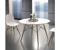 Table à manger ronde scandinave blanche et bois clair ULRIK - L 100 x P 100 x H 77 cm - Tables salle à manger