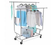 Portant Vêtements Langria 2 Barres Extensibles(Chrome) - Portants et valets de nuit