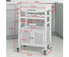 SoBuy® Desserte de cuisine de service, Chariot de cuisine Roulant, FKW09-W FR - Dessertes de rangement