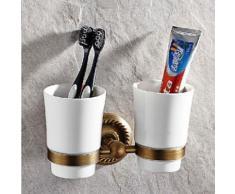 Porte-brosse à dents en laiton antique - Accessoires de bain