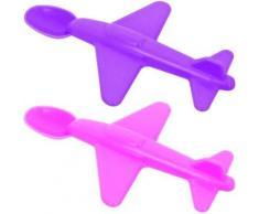 Set Lot Deux Cuillères Ménagère Bébé Design Forme Avion Rose Et Violet - Autres