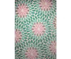 Tapis contemporain Esprit Lotus motif Floral Bleu 90x160 - Tapis et paillasson