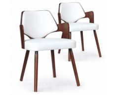 Lot de 2 chaises scandinave Dima Bois Noisette et Blanc - Chaise