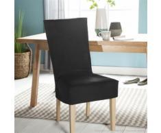 Housse de chaise unie courte 100% coton bachette épaisse noir ISA - Textile séjour