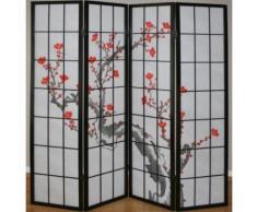 Paravent 4 panneaux japonais en bois noir 176x175cm PAR06014 - Objet à poser