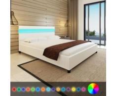 Meelady Lit avec LED Lit Double pour Adulte en Bois 200 x 160 cm Tissu Blanc - Cadre de lit