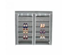 Penderie, Armoire, 2 portes, placard à chaussures, 114 x 110 x 28 cm, Gris, Matériau: Tubes en acier inoxydable, Connecteurs de tuyaux en plastique - Patères et portant