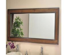 Grand Miroir de salle de bain Elégance teck métal 145x70 - Miroir
