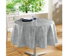 Nappe ronde (0) 160 cm pvc faux uni beton cire Gris - Linge de table