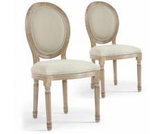 Lot de 2 chaises de style médaillon Louis XVI Tissu Beige - Chaise