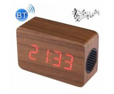 Haut-parleur stéréo sans fil multifonctionnel bluetooth en bois led avec l'horloge et alarme de musique de 64 accords - Mini-enceintes