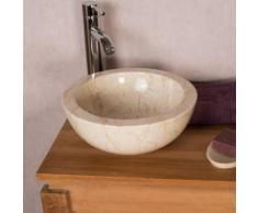 Vasque BARCELONE en marbre à poser crème 30 cm - Installations salles de bain
