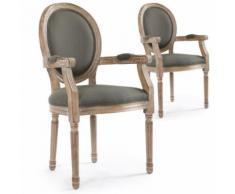 Lot de 2 chaises médaillon Louis XVI Cosy Tissu Gris - Chaise