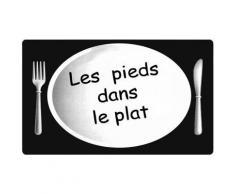 Grand Tapis De Cuisine Soft Design Humour Pieds Dans Le Plat 45x70cm Noir - Tapis et paillasson