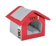 Niche pliable pour chien - 54 cm - Tissu matelassé - Rouge - Objet à poser