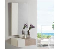 Meuble d'entrée 1 tiroir Chêne clair/Blanc - ESTEBAN - Commodes